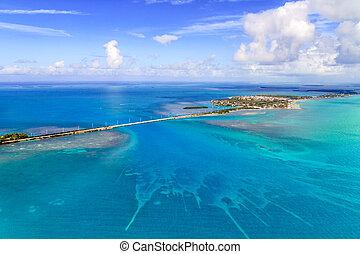 キー, 橋, 航空写真, フロリダ, 光景