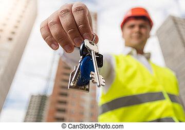 キー, 若い, 建設, 保有物, 新しい 家, 微笑, エンジニア