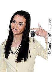 キー, 車の女性, テスト, 運転