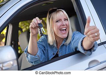 キー, 車の女性, 魅力的, 新しい