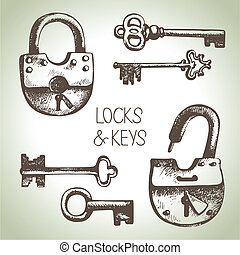 キー, 錠, セット, 引かれる, 手