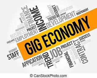 ギグ, 概念, 単語, 経済, 雲, コラージュ, ビジネス