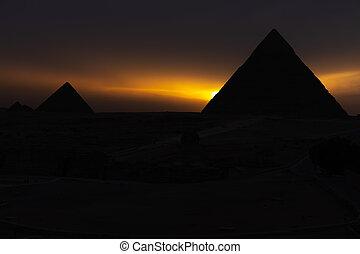 ギザ, エジプト, シルエット, 暗い, ピラミッド, 日没