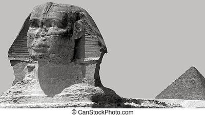 ギザ, エジプト, スフィンクス, ピラミッド, khufu