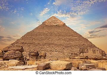 ギザ, エジプト, ピラミッド, 台なし, chephren