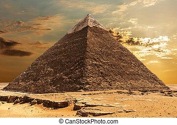 ギザ, エジプト, ピラミッド, khafre, 日の出