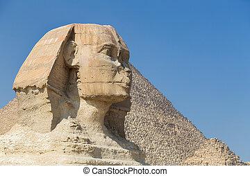 ギザ, 頭, スフィンクス, 偉人, egypt.