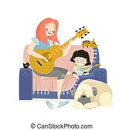 ギターの 演奏, 母, イラスト, 娘, ベクトル, 彼女
