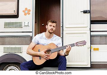 ギター, あごひげを生やしている, concept., 休暇, 若い, 休日, 旅行, outdoors., 遊び, 人, ハンサム