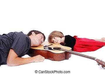 ギター, うそ, 幸せ, 娘, 父