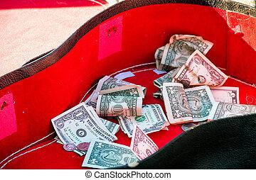 ギター, お金, 中, 先端, 場合