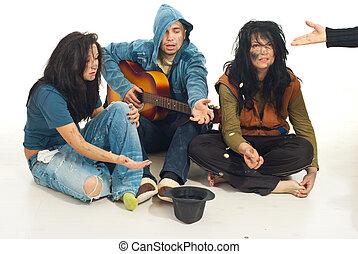 ギター, こじき, 歌うこと, お金