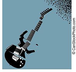 ギター, こまかく切られた, 音楽, 背景