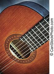 ギター, の上, hdr, 終わり, クラシック