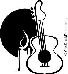 ギター, ろうそく, 漫画