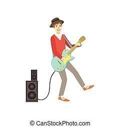 ギター, イラスト, 創造的, 人, 人, エレクトロ, 遊び