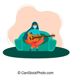 ギター, イラスト, home., 顔, 女の子, 座る, ソファー, coronavirus, の間, プレーする, マスク