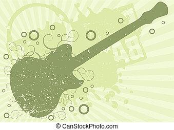 ギター, グランジ, 背景