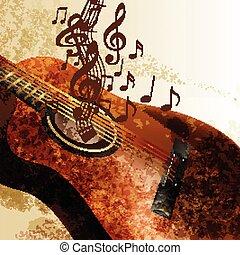 ギター, グランジ, 音楽, 背景