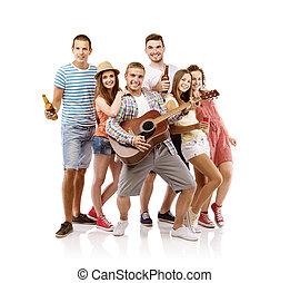 ギター, グループ, 若い人々