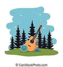 ギター, コンパス, 地域, キャンプ, 現場