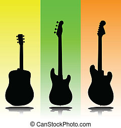 ギター, シルエット, ベクトル