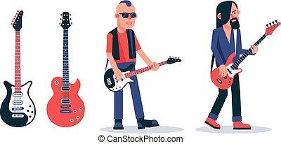 ギター, スタイル, ベース, 不良, 暗い, プレーヤー, ガラス