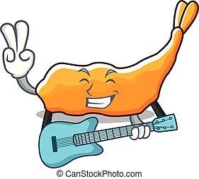 ギター, スタイル, マスコット, 漫画, tempura