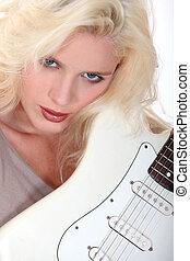 ギター, セクシー, 女, 遊び