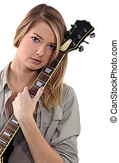 ギター, ティーンエージャーの, ポーズを取る, 女の子, ブロンド