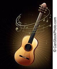 ギター, ブラウン, メモ, ミュージカル