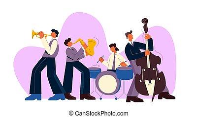 ギター, プレーしなさい, サクソフォーン, 平ら, バンドトランペット, ドラム, ベース, ベクトル, ジャズ, 漫画, 音楽, イラスト