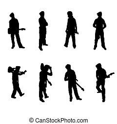 ギター プレーヤー, シルエット, セット