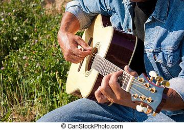 ギター プレーヤー, 屋外, ぐっと近づいて