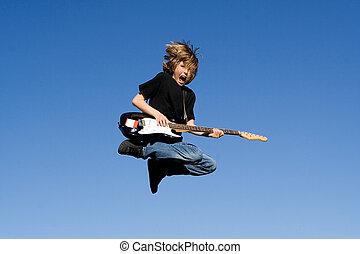 ギター プレーヤー, 歌手, 岩, 子供