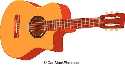 ギター, ベクトル, クラシック, 3d