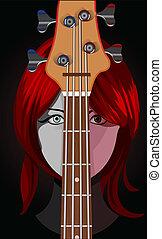 ギター, ベクトル, 女の子