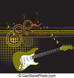 ギター, ベクトル, 背景