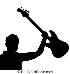 ギター, ベクトル, 黒, イラスト, 人