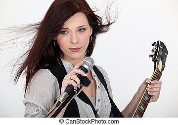 ギター, マイクロフォン, 女