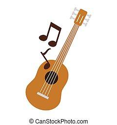 ギター, メモ, アイコン, 隔離された, ミュージカル