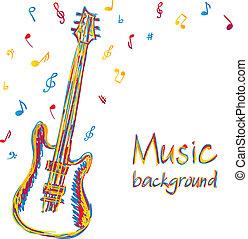 ギター, メモ, 音楽, 背景