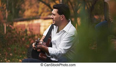 ギター, 人, 歌うこと, 遊び, 歌