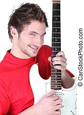 ギター, 人, 遊び, 若い