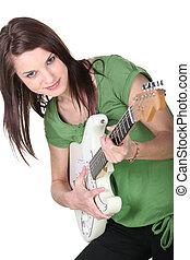 ギター, 動揺, 女, 若い