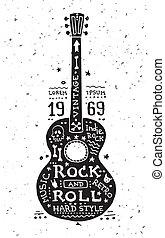 ギター, 型, グランジ, イラスト, ラベル