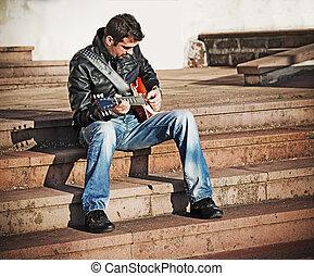 ギター, 型, 調子, 階段, プレーヤー