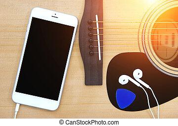 ギター, 型, smartphone, tone., ヘッドホン