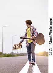 ギター, 女の子, ヒッチハイク