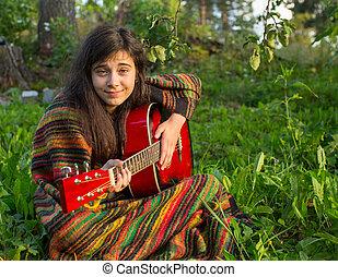ギター, 女の子, プレーする, 若い, モデル